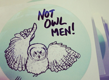 Not owl men sticker double union thumb